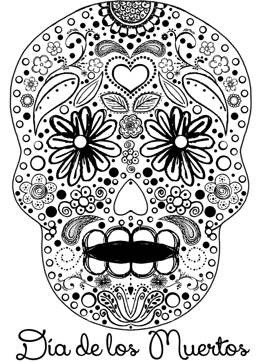 Celebrate The Day Of The Dead With Scrapbook Paper Arts Day Of The Dead Skull Coloring Pages