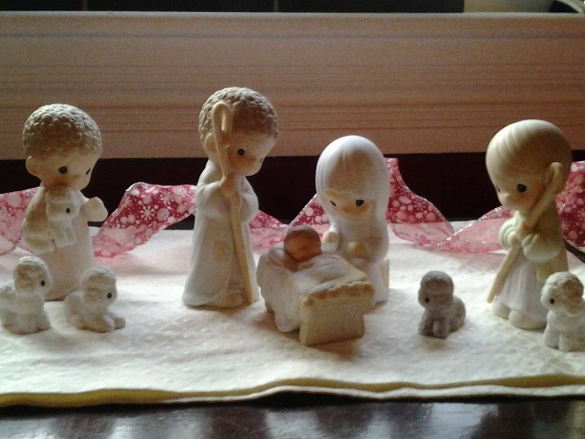 This is my favorite Christmas decoration, my Precious Moments Nativity set.