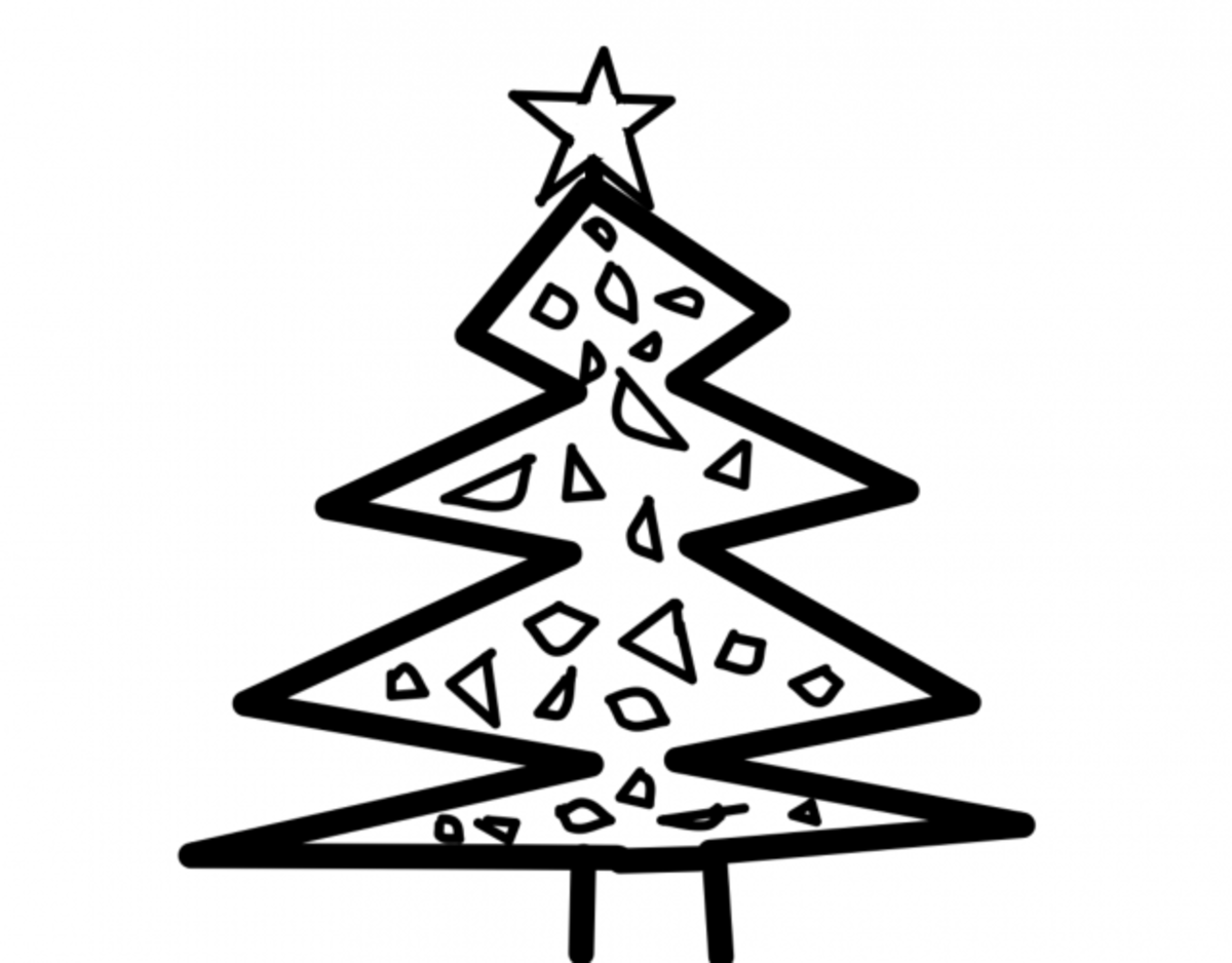 Christmas Tree Coloring Page with Star on Top