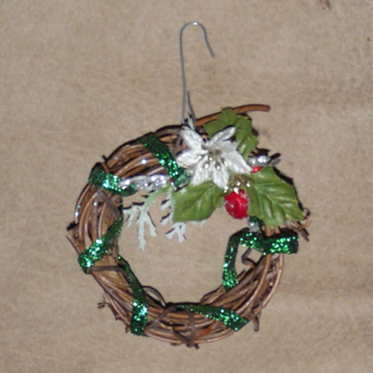 Mini Wreath Ornament with Poinsettia