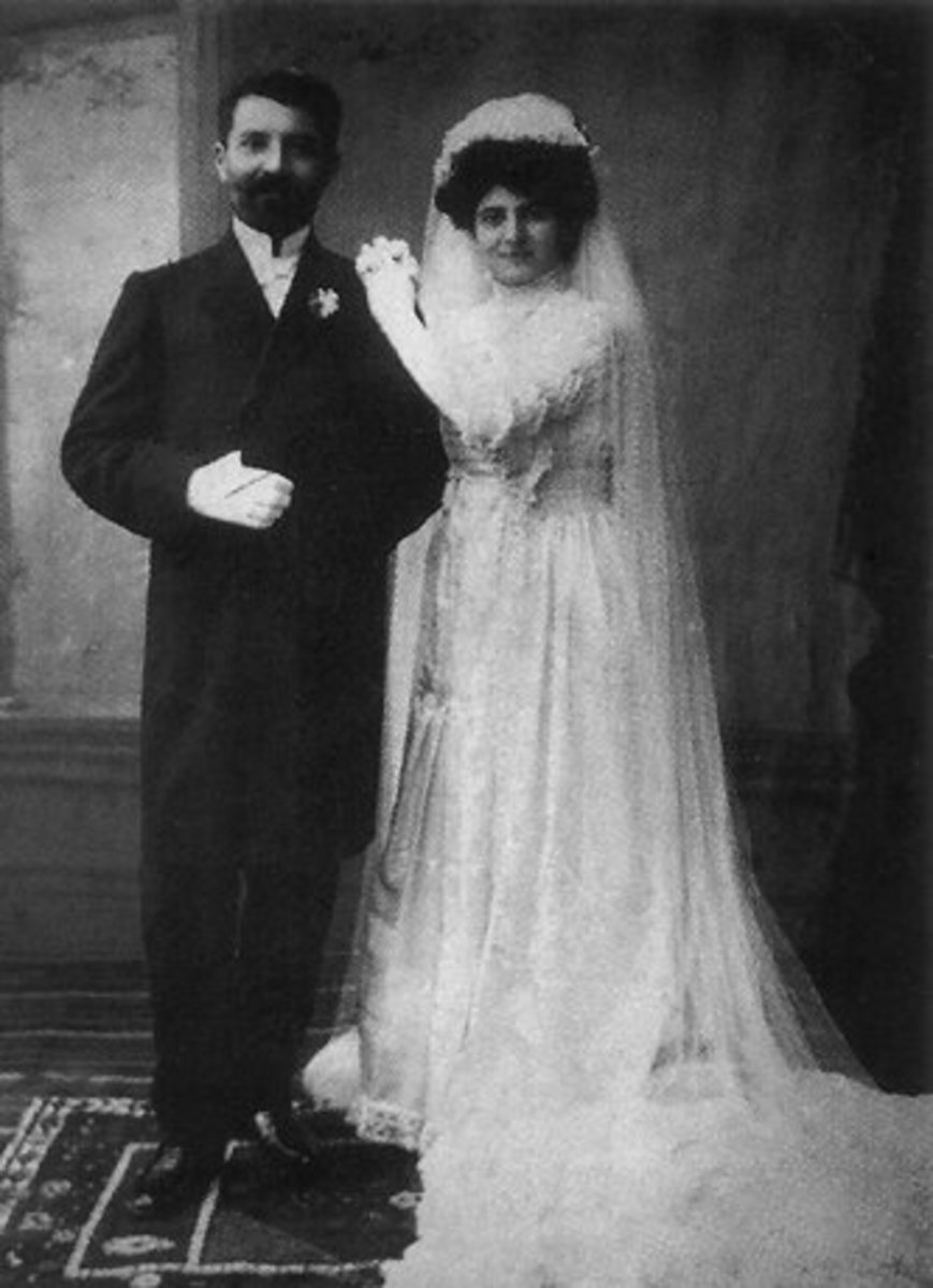 Armenian Wedding Traditions and Customs. Armenian bride and groom in 1909. From Hishatak 1896-1930. Note the high collar on the bride.