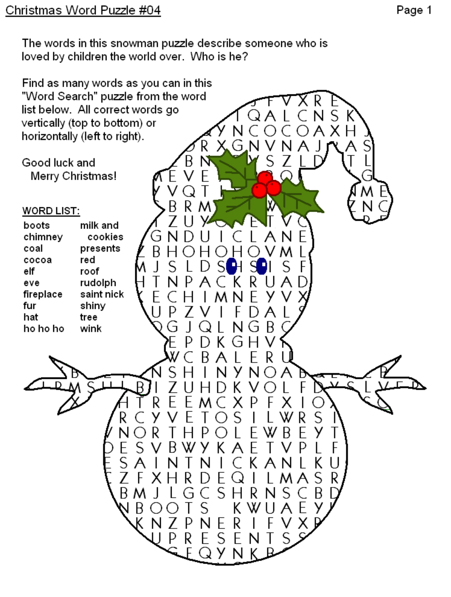 Printable Word Search Game For Children In Shape Of Snowman