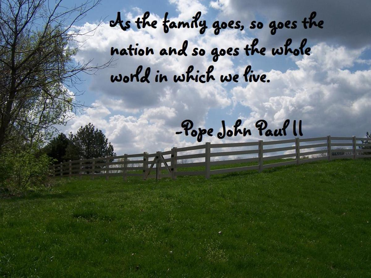 """""""As the family goes, so goes the nation and so goes the whole world in which we live."""" —Pope John Paul II"""