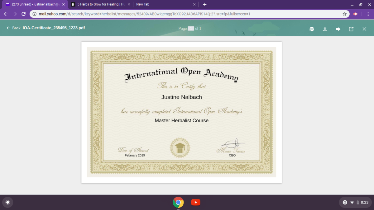 If you are interested in becoming a certified herbalist, please visit International Open Academy. All of this information was sourced from their master herbalist course.