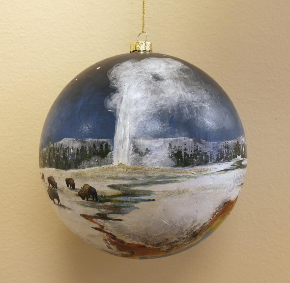 Ornament representing Yellowstone National Park from the Laura Bush 2007 tree