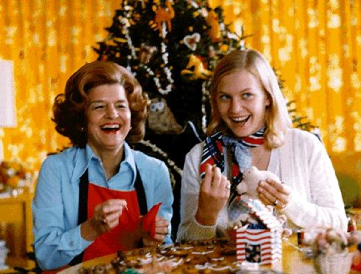 First Lady Betty Ford and daugter, Susan, making ornaments for the White House Christmas Tree