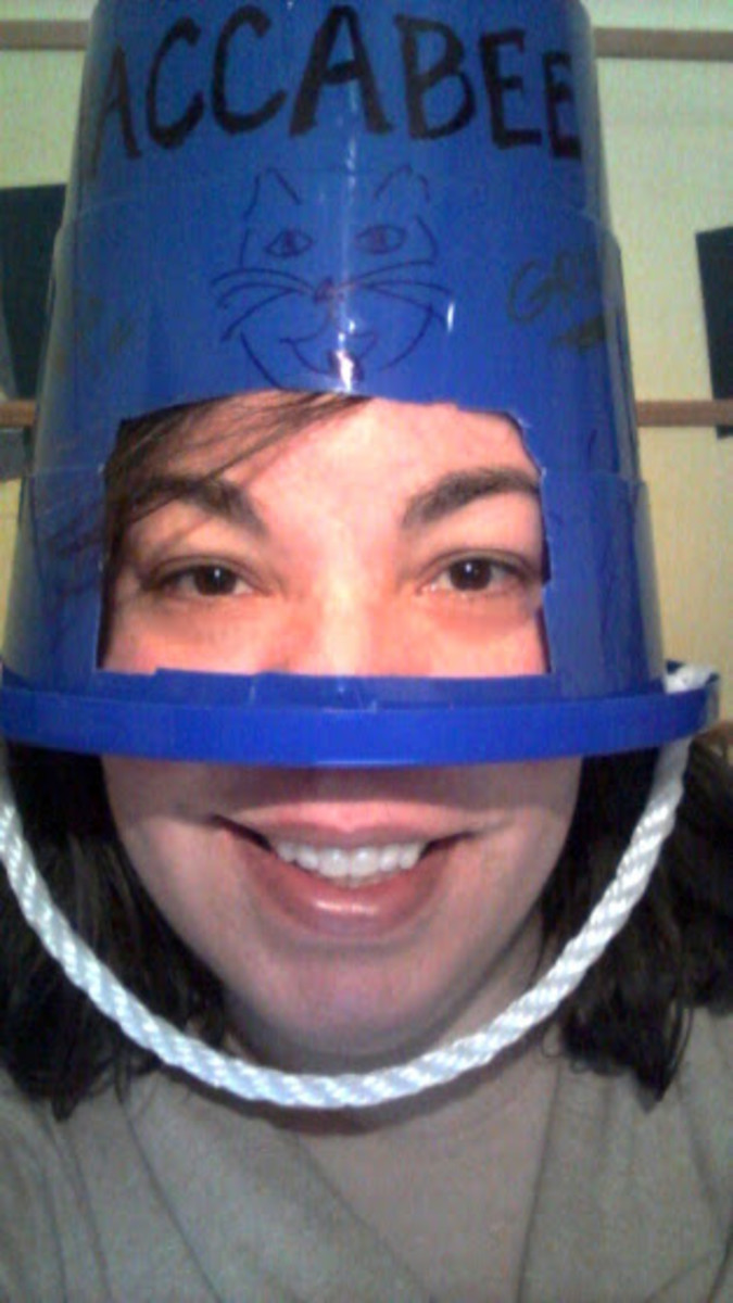 The author wearing her helmet, looking ever so slightly like Bender from Futurama.