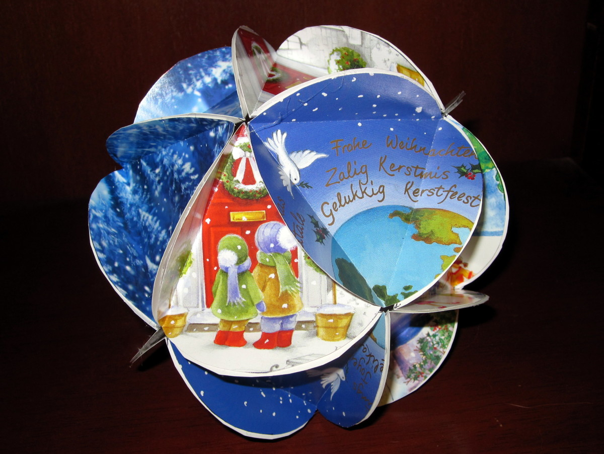 Ornamental ball made with recycled Christmas cards