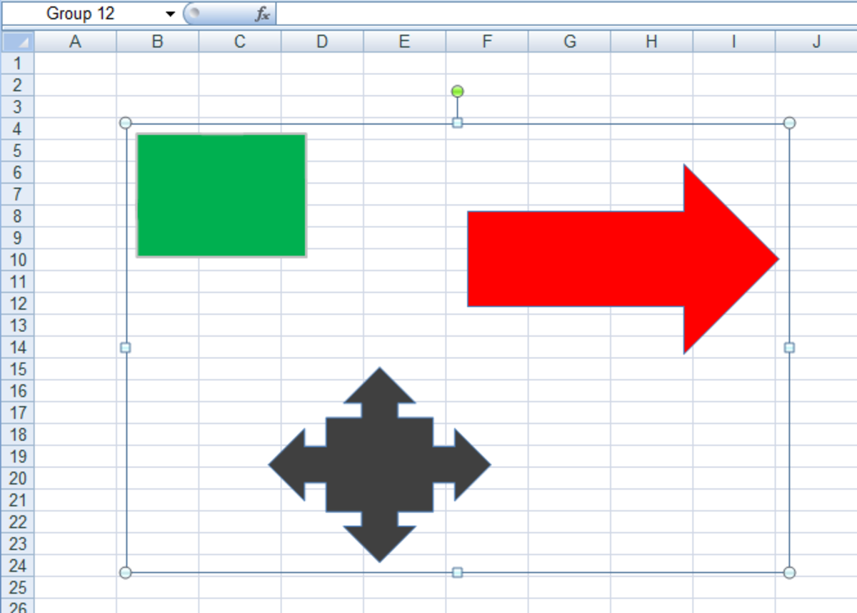 Shapes added to a group called Group 12 in Excel 2007 and Excel 2010.