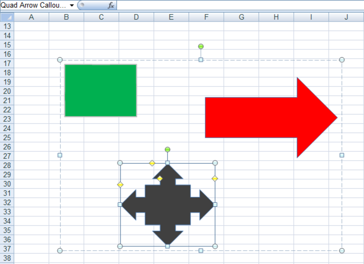 Figure 8: Selecting a single shape within a group in Excel 2007 and Excel 2010.