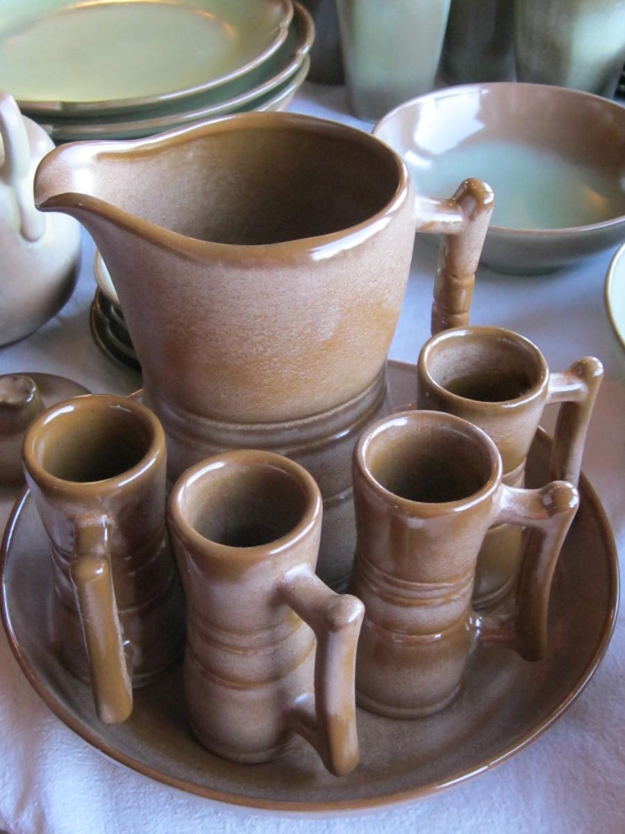 Frankoma Pottery Brown Satin Juice pitcher and juice glasses