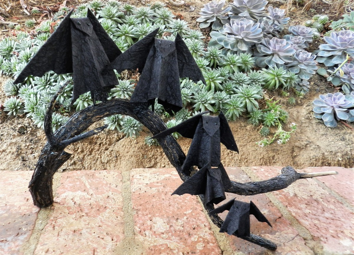 Paper Bat Floral - Origami bats on Lavender Branch