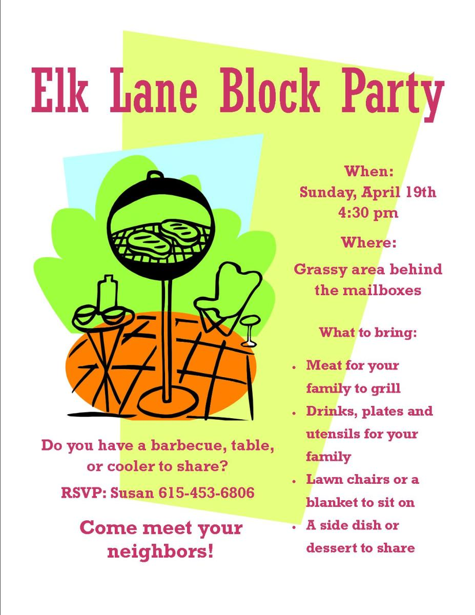 Pertinent information about the block party is included in this flyer, such as date, time, location, RSVP contact, and what to bring.