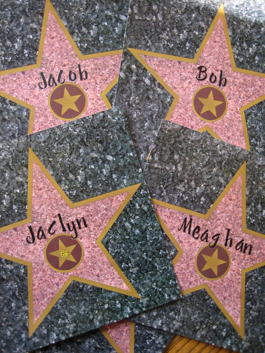 Personalized Hollywood Walk of Fame cards.