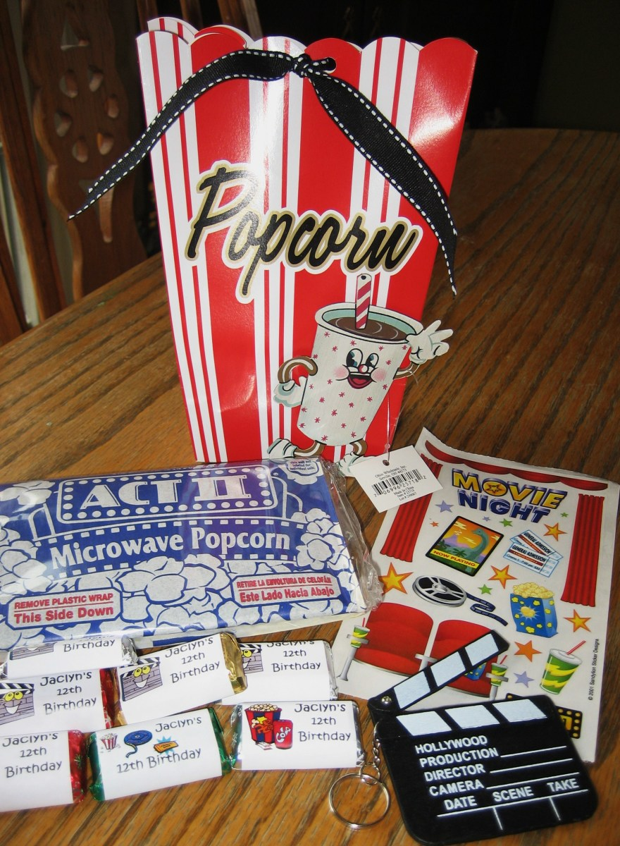 Popcorn box with party favors.