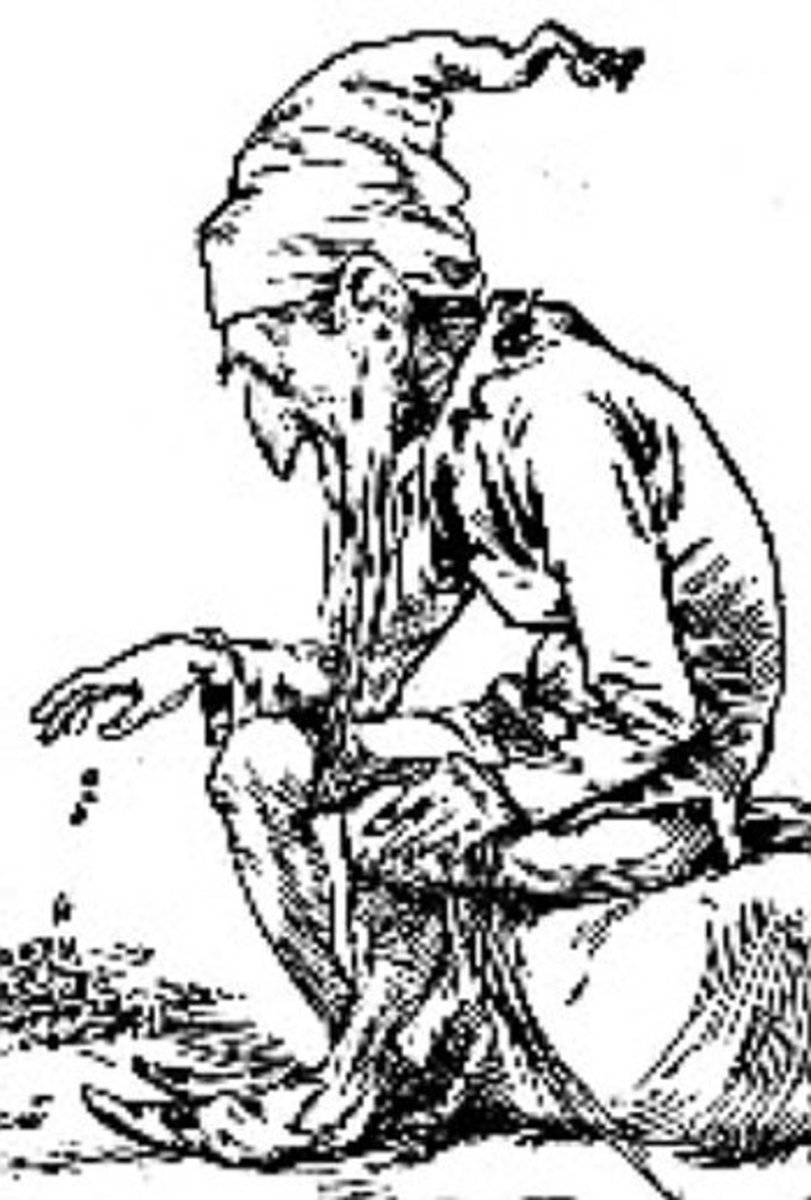 A leprechaun counts his gold in this engraving from 1900.