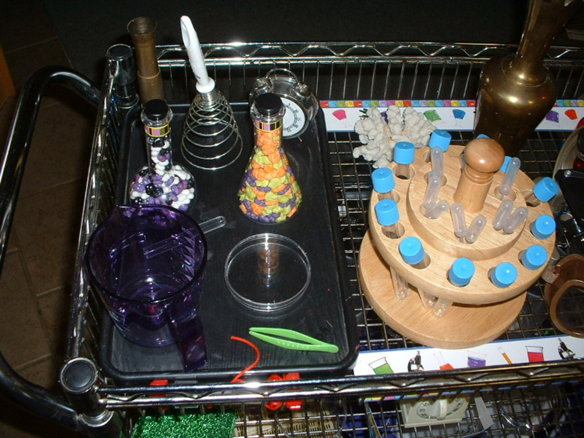 Spooky lab cart with sniff vials that have random strong odors.
