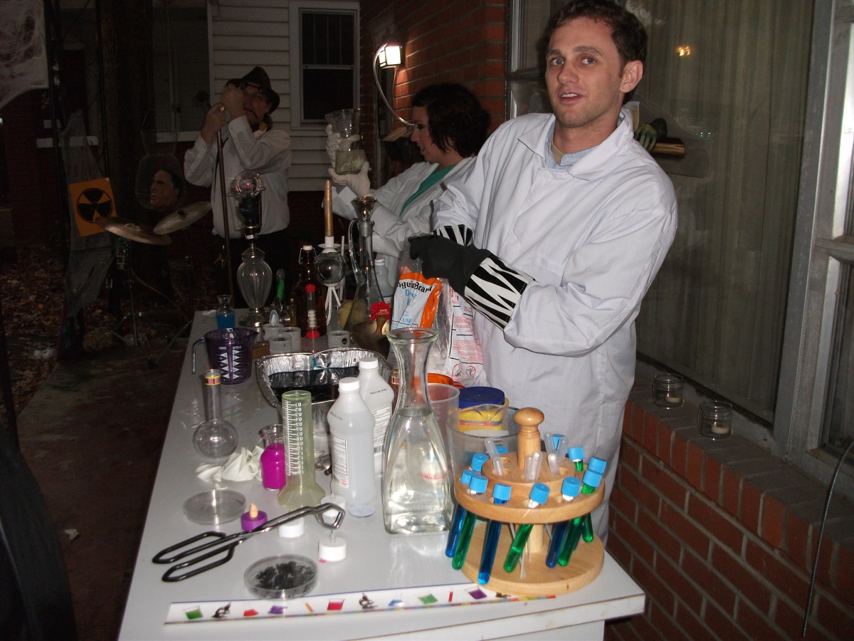 Mad scientist performing experiments for trick-or-treaters.
