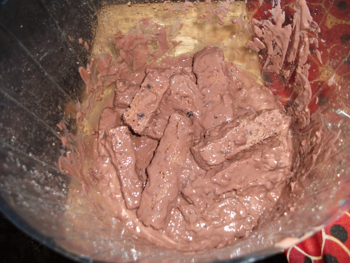 Fake poop made with a sponge cut into the right shape and dipped into chocolate pudding.