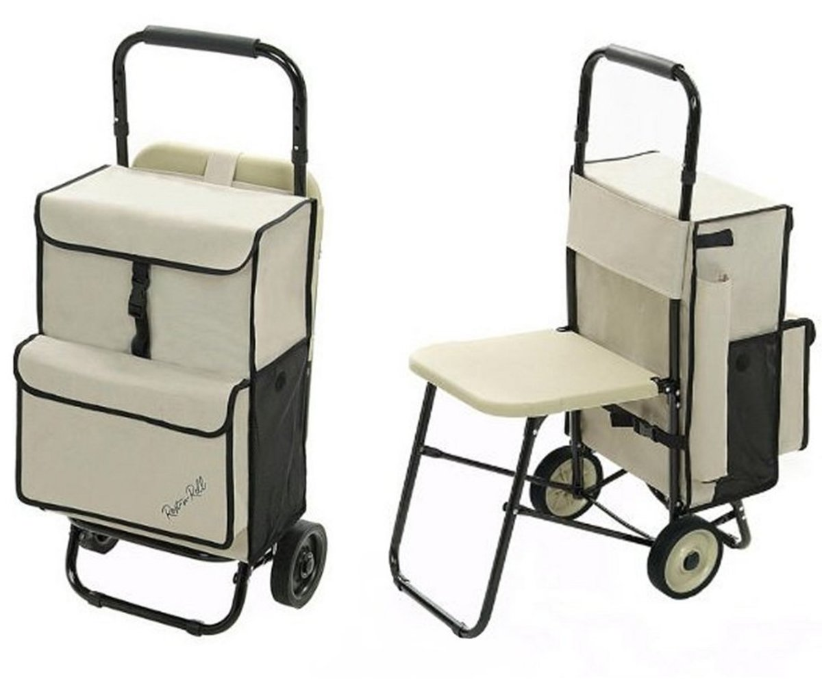 This cart has a sturdy, plastic seat that is more comfortable for seniors than seats made from fabric.
