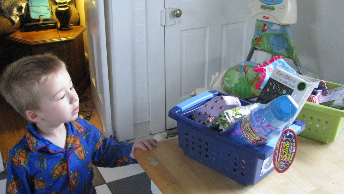 My son finding his Easter basket . Inside was bubbles, star stickers for his room, Cars bandaids...