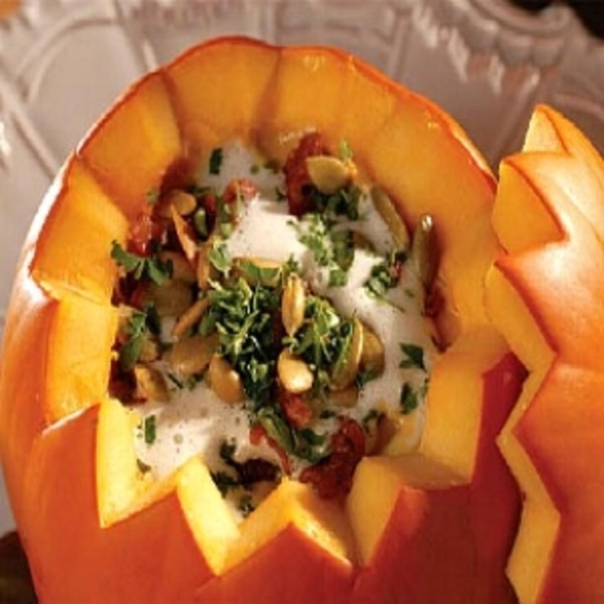 Pumpkin Soup Served in a Pumpkin