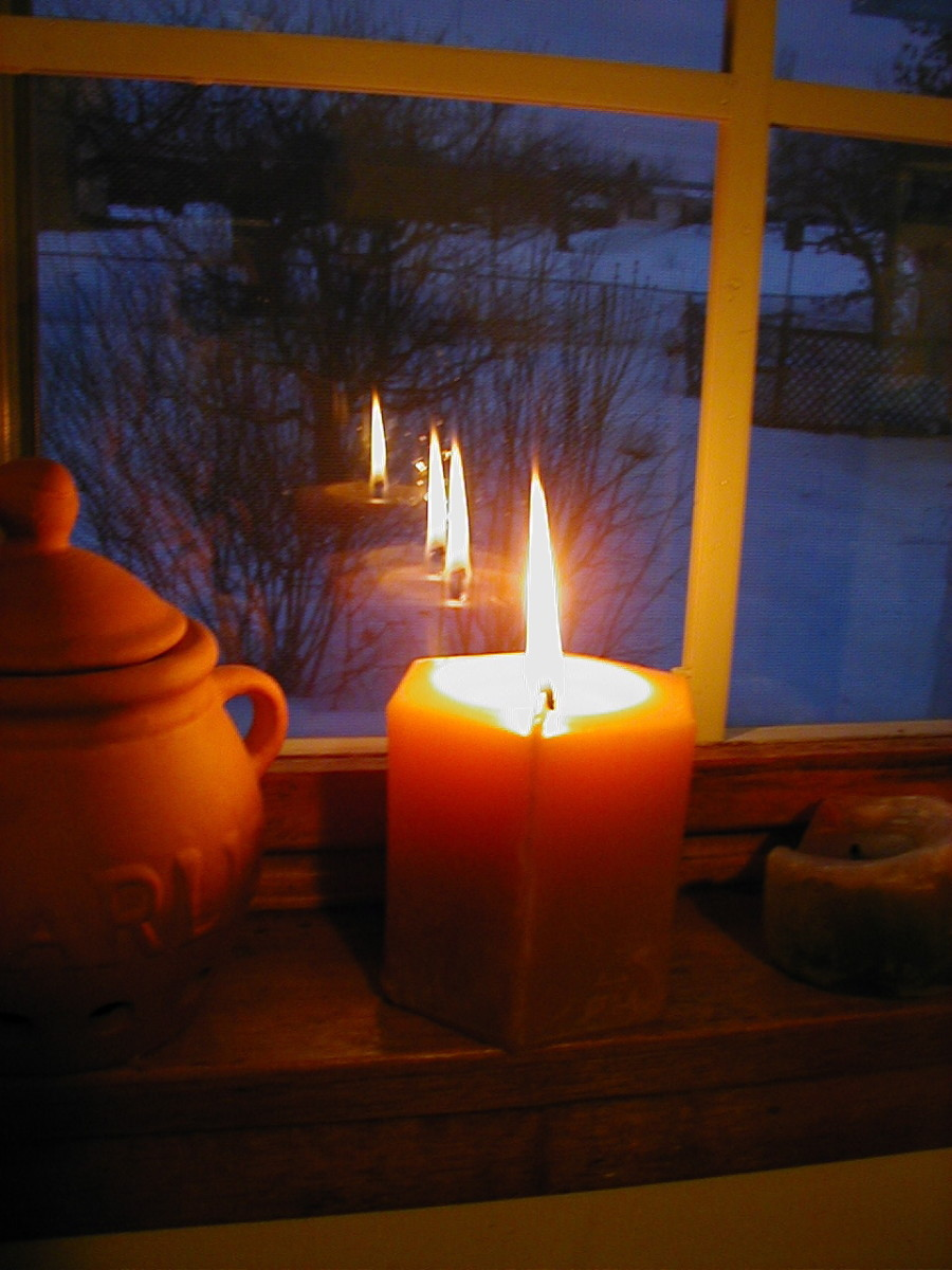 In Celtic tradition, a candle lights the way for weary travelers at Christmas time.