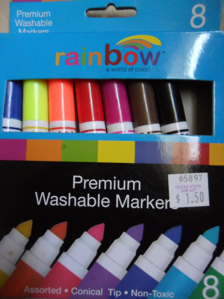 These are the non-toxic washable markers I used for this tutorial. Blue and red are the only colors you will need.