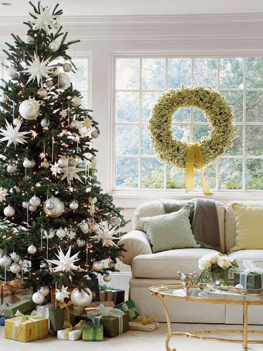 Christmas tree with oversized ornaments.
