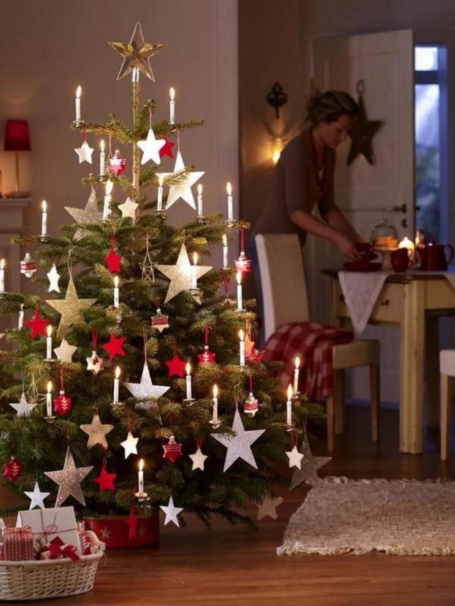 Christmas tree decorated with handmade stars