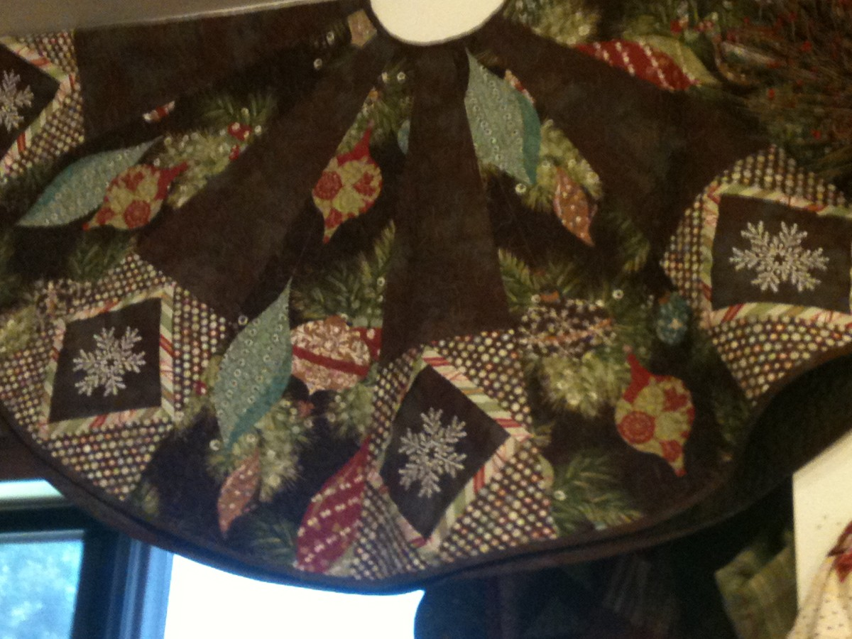 Christmas tree skirt in quilt shop.