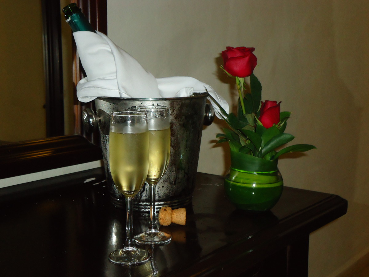 Our welcome flowers and champagne