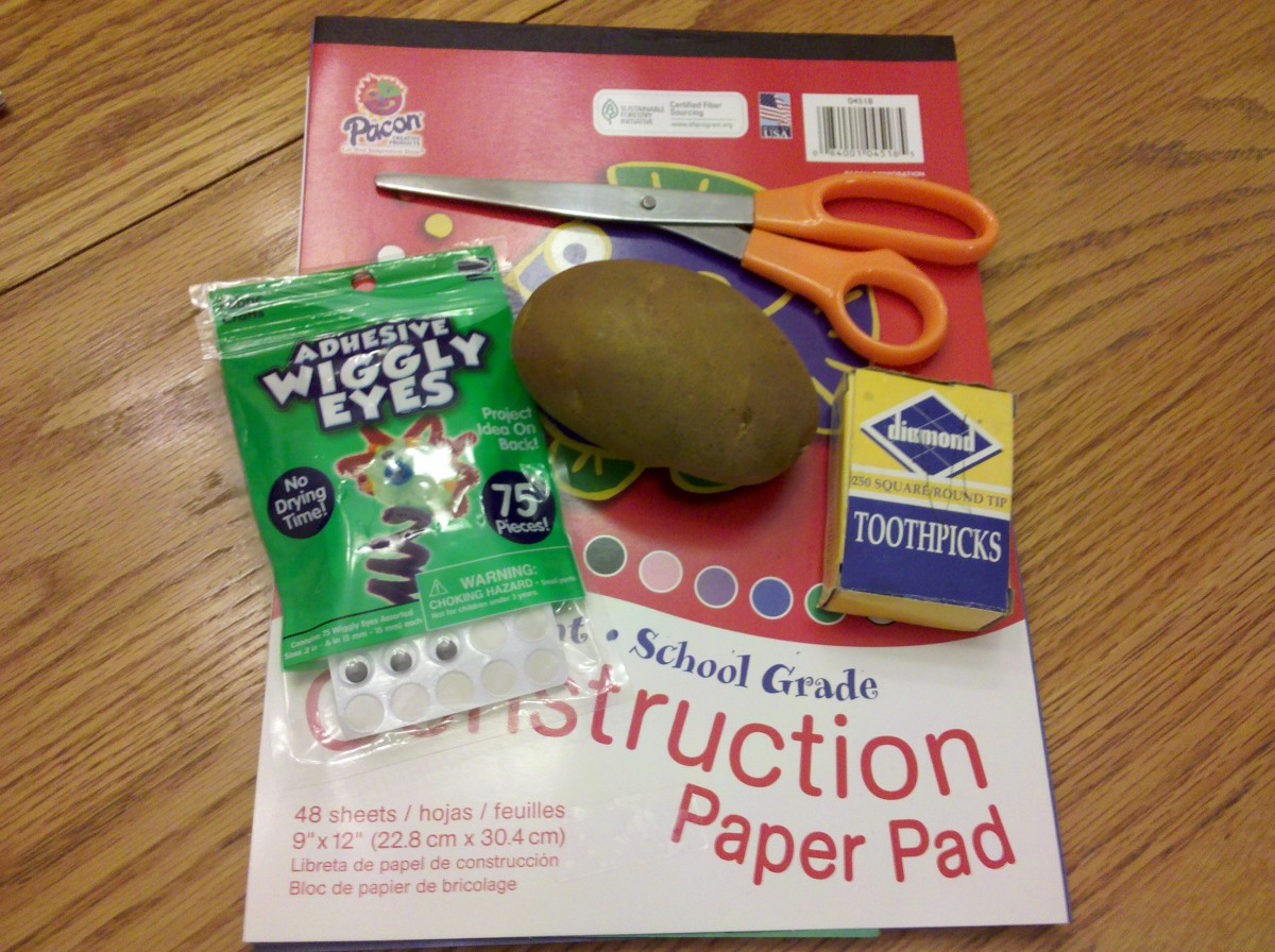 The supplies you will need to make a potato turkey.