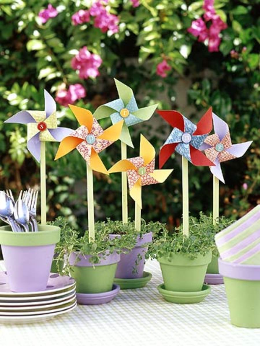 Scrapbook paper pinwheels.