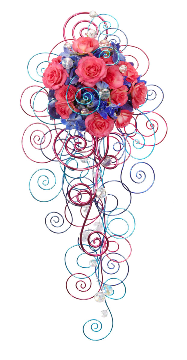 The cascade on this colorful bouquet is made entirely from swirls of oasis wire. Who said you need flowers or foliage?