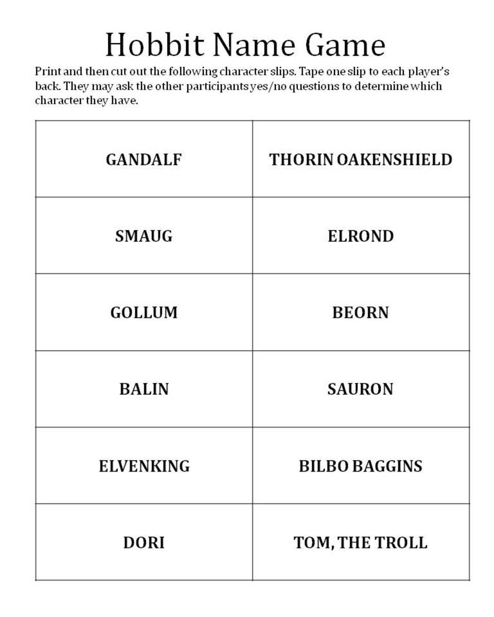 Here is what the Hobbit Name Guessing sheet looks like. To print a .pdf copy of the sheet, click on the orange link near the beginning of this article.