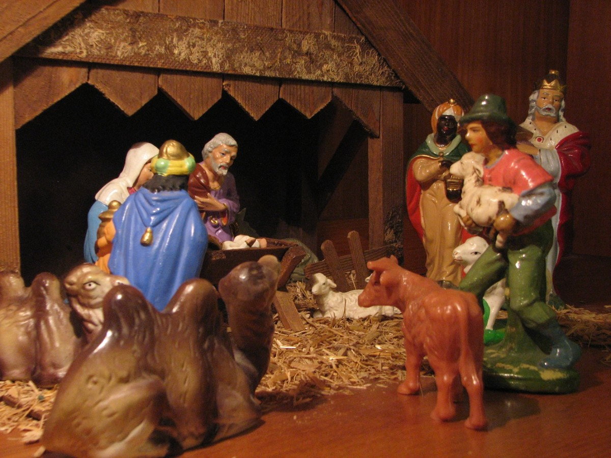 Nativity scenes such as this are of strictly Christian heritage.