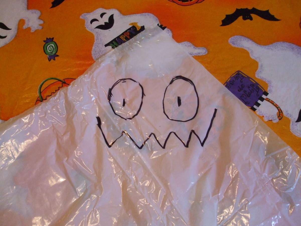 This simple face works well on the Halloween ghost decoration.