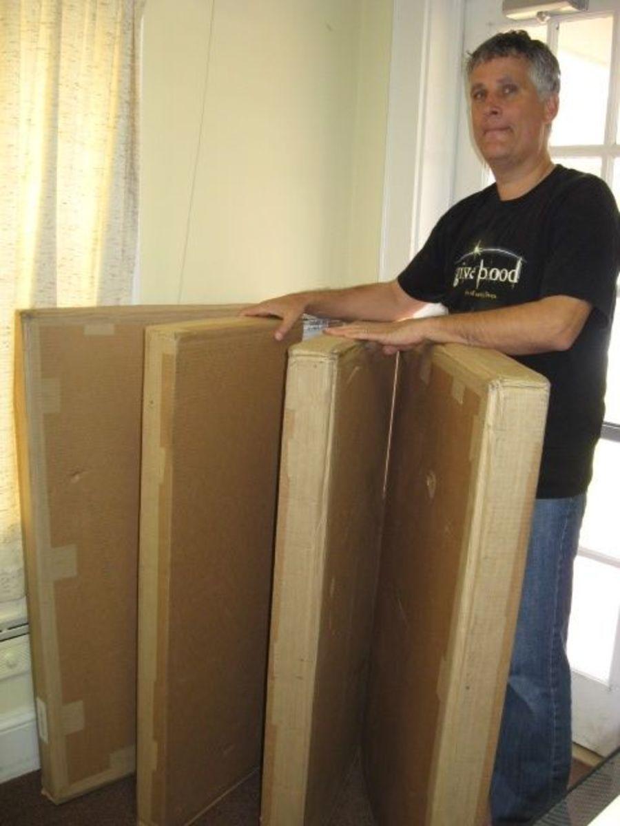 Morton White of Pendleton Presbyterian Church shows boxes.