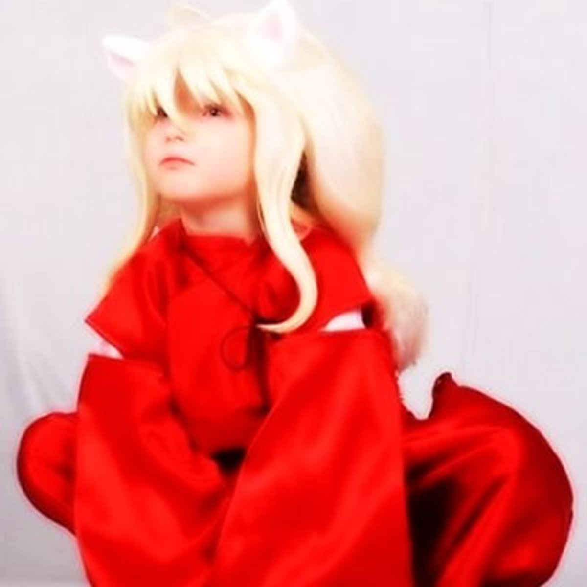 The main points of the Inuyasha costume are the ears, hair, and red clothing.