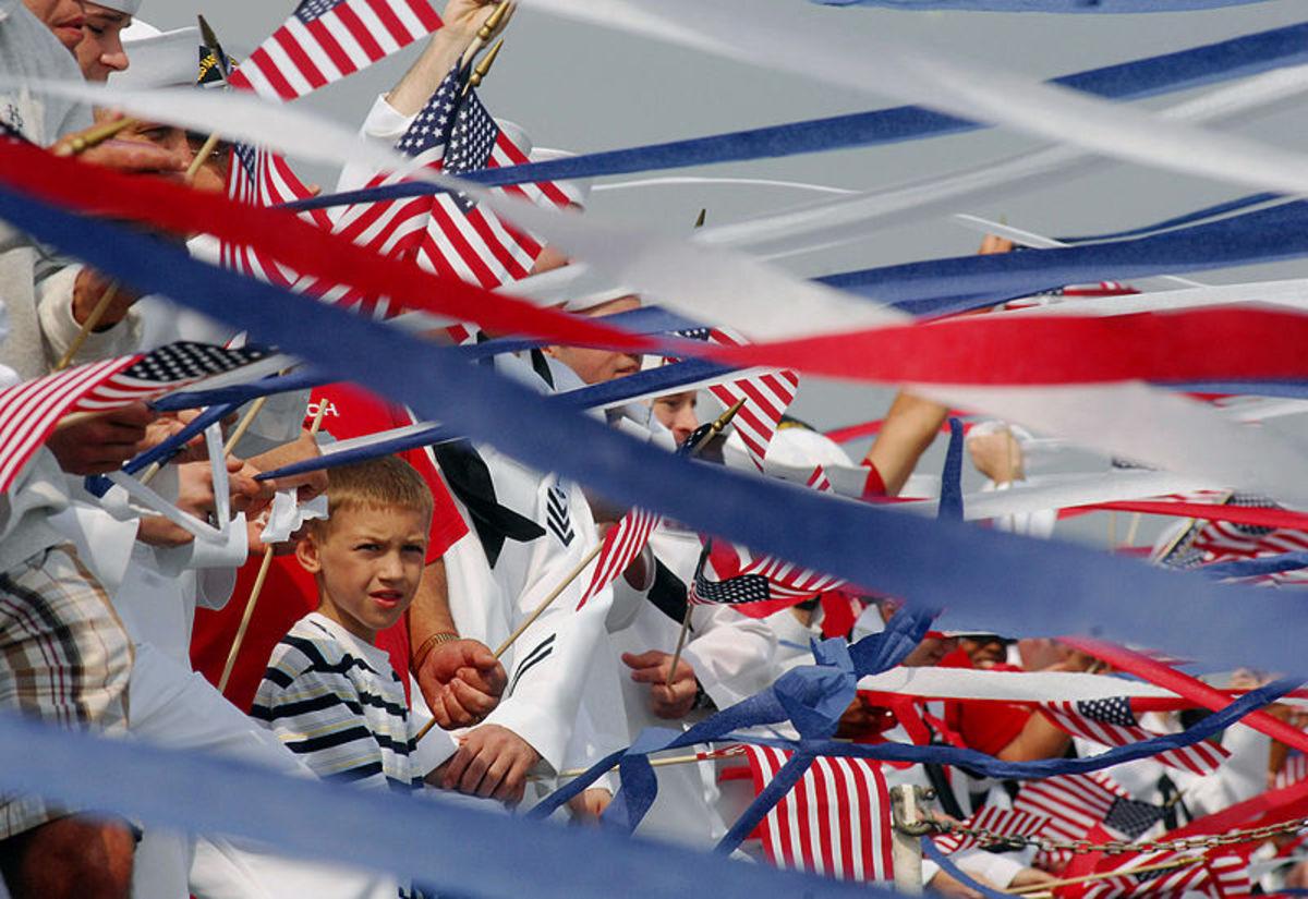 Waving U.S. flags