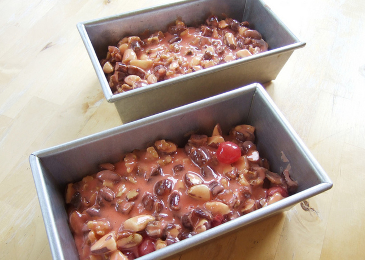 This is what fruitcakes look like in their pans before they are baked.