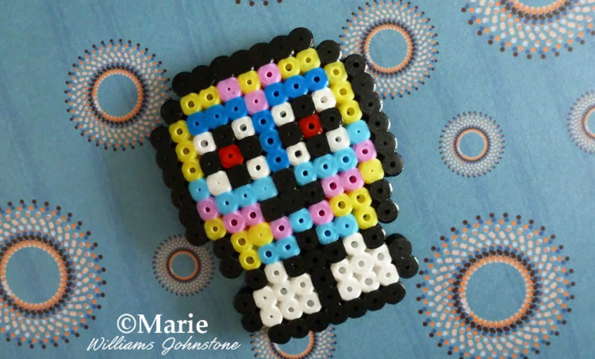 This alternative skull design is large and incorporates a variety of colors.