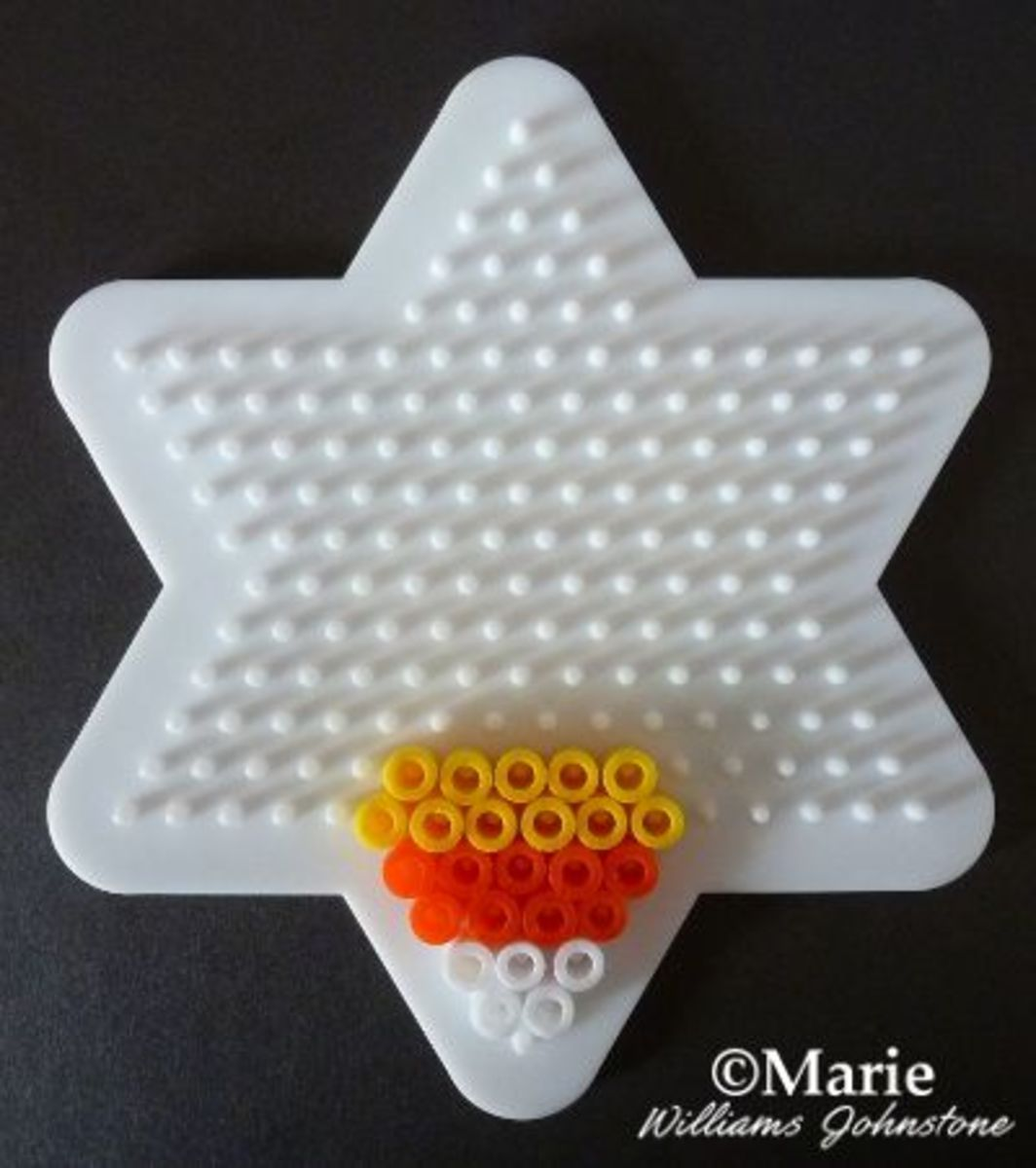 Candy Corn Halloween Perler Beads Pattern