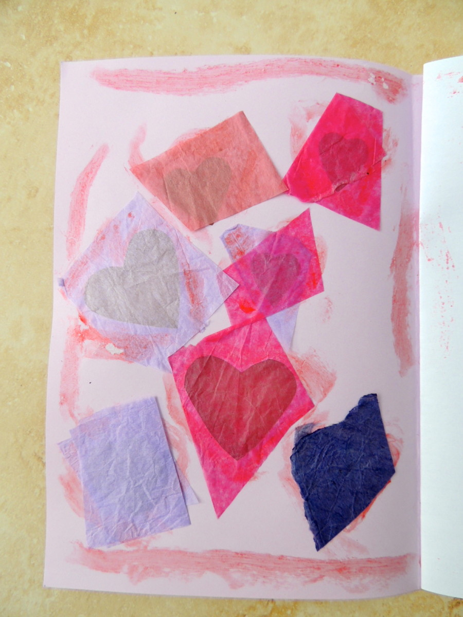 2. Glue tissue paper on the inside of the card.