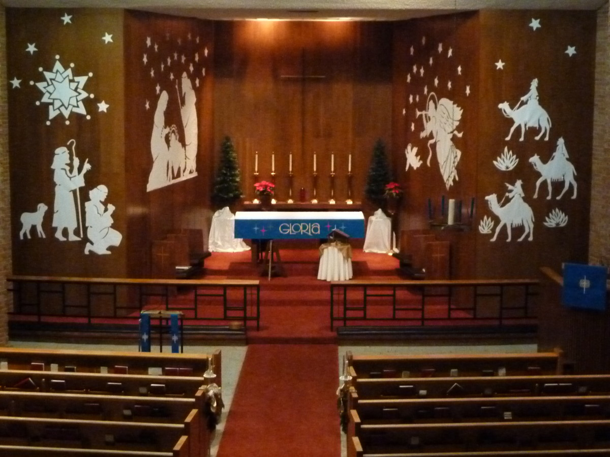 The decorated altar on Christmas eve