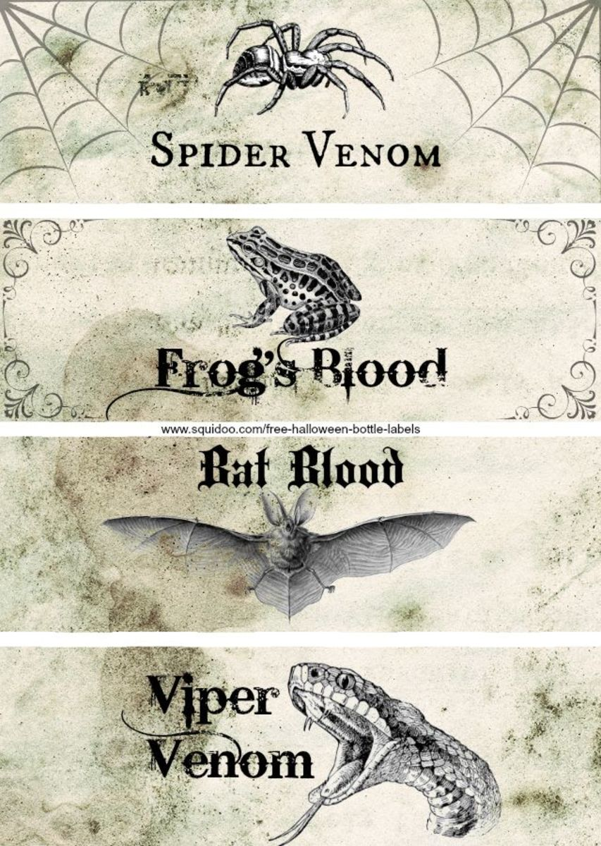 It is a graphic of Free Printable Apothecary Labels intended for halloween