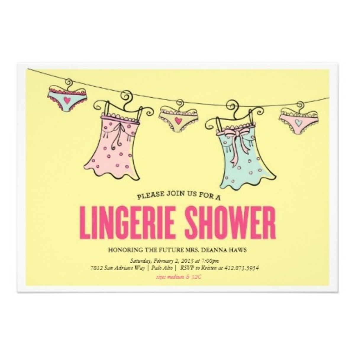 Lingerie On Line Invitation Sample
