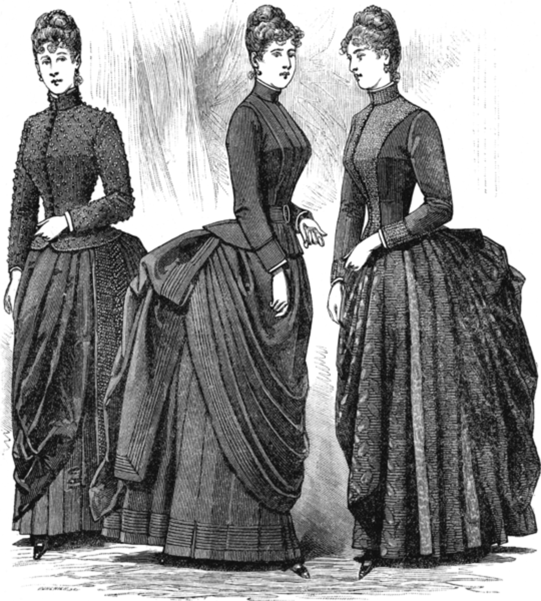 French women of the Victorian Era years, dressed similarly to English Women: corsets, bustles, heavy long skirts, many petticoats.