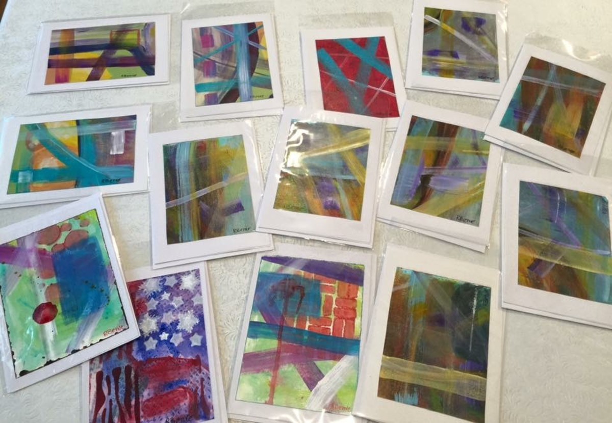 These cards made from original abstract paintings have been bagged so I can sell them at my studio.